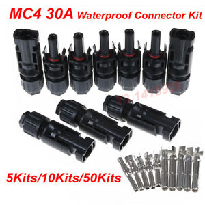 100pair Mc4 30a Male Female Wire Pv Cable Waterproof Connector Kit F Solar Panel