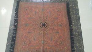 Antique French Paisley Kashmir Square Piano Shawl Wool Size 35 X36 Table Cloth