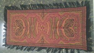 Antique French Paisley Kashmir Piano Rectangle Shawl Wool Size36 18 Reversible