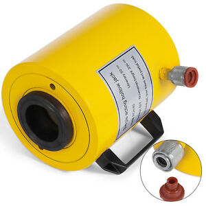 60 Tons 2 Stroke Single Acting Hollow Ram Hydraulic Cylinder Jack Good Updated