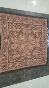 Antique French Paisley Kashmir Square Piano Shawl Wool Size 35 X35 Reversible