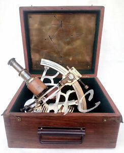 8 Heavy Brass Antique Sextant With Wooden Box Maritime Nautical Ship Astrolabe