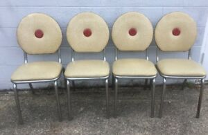 Vintage Set 4 Mid Century Modern Chrome Dining Chairs