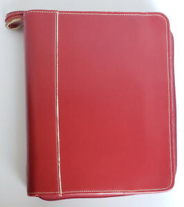 Franklin Covey Red Leather 1 Rings Planner Zip Binder Storage Case Extra Forms