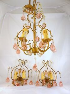 Rare Vintage Crystal Macaroni Beaded Chandelier Pair Sconces Murano Pink Drops