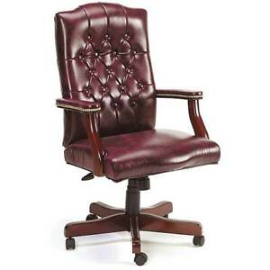 Traditional Executive Swivel Chair In Oxblood Vinyl Home Work Furniture