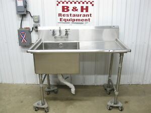 John Boos 52 Stainless Steel 1 One Bowl Prep Sink Right Drain Board