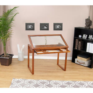 Tempered Glass Top Solid Wood Drafting And Hobby Craft Table With Drawer
