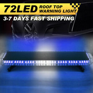 38 72 Led Strobe Light Bar Emergency Warning Hazard Flash Response Blue
