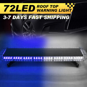 72 Led Strobe Light Bar Emergency Warning Beacon Dash Truck Car Visor Blue
