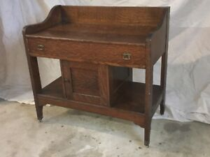 1800 S Antique Old Growth Solid Quarter Sawn Oak Wash Stand Commode
