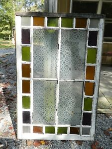 Vintage Colored Stained Etched Glass Church Window