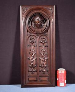 French Antique Deep Carved Architectural Panel Door Solid Walnut With Face