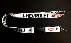 Chevrolet Chevy White Lanyard Key Chain Quick Release Id Card Holder