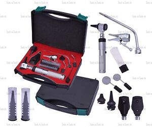 Silver Veterinary Otoscope Ophthalmoscope Diagnostic Kit Ent Surgical Instrument