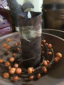 Primitive Grungy Authentic Luminara 8 Pillar Candle Spiced Timer