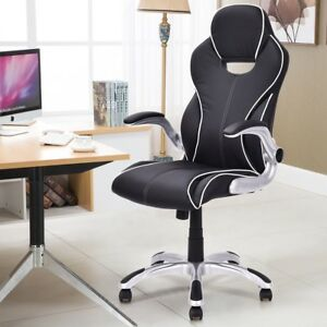 Home Office High Back Executive Adjustable Armrest Office Chair Pu Leather Seats