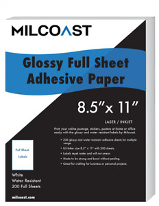 Milcoast Full Sheet 8 5 X 11 Shipping Sticker Paper Adhesive Labels Glossy Wat