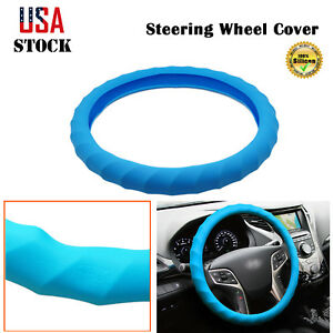 15 16 Car Steering Wheel Cover Blue Silicone Grip Wrap Protector Durable Us