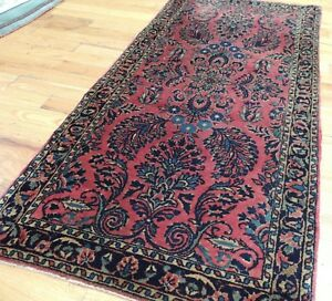 Small 2x4 Hand Knotted Sarough Rug Red Navy Wool Striking
