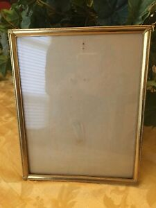 Antique Vtg Brass Picture Photo Frame 8 X 10 Flocked Back Art Deco Gorgeous