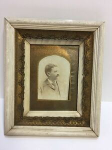 Antique Gesso White Wood Picture Frame Nice