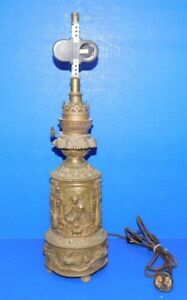 Antique 1800 S Brass Electrified Table French Oil Lamp Kosmos Brenner