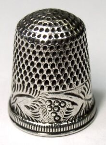 Antique Coin Silver Thimble Leaves Berries Band Design Marked Coin C1890s
