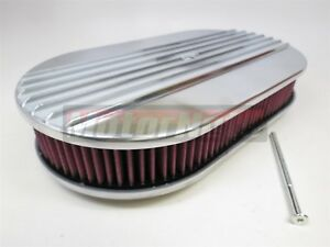 Washable 15 X2 Polish Aluminum Half Finned Air Cleaner Nostalgic Sbcbbc Hot Rod