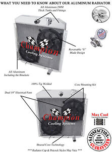 3 Row Best Cooling Champion Radiator W 2 10 Fans For 1955 1959 Gmc Truck