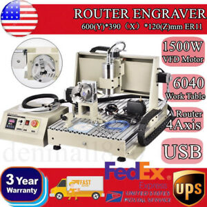 Usb 4 Axis 1 5kw Cnc6040 Router Engraver 3d Engraving Drilling Milling Machine