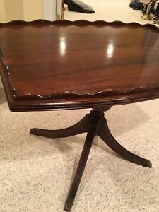 Antique Pedestal Occasional Side Table Solid Wood Sofa Nightstand