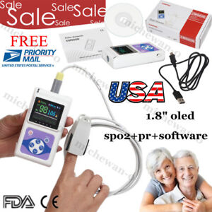 Usa Oled Portable Finger Tip Pulse Oximeter Adult Spo2 pc Software Fda Ce