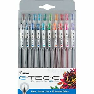 Pilot G tec c Gel Pens extremely Fine Assorted Colors 0 4mm 20 Pack 36494