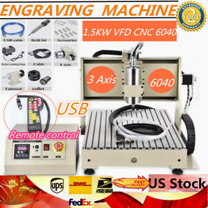 6040 Cnc Router 3 Axis Engraver Engraving Machine Precision Ball Screw 1500w Usb