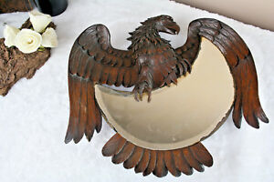Antique Swiss 1910 Blackforest Hand Wood Carved Eagle Wall Mirror Rare