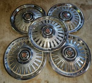 Vintage 1960 S Chevy 14 Hubcaps Set Of 5