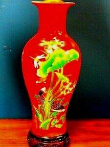 Pair Of 32 Chinese Porcelain Vase Lamps Chinese Red Fish And Water Lilies
