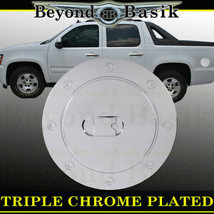 For 2007 2014 Chevy Tahoe Chrome Fuel Gas Door Cover Overlay Trims