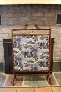 Antique Wood Frame Fireplace Screen With Patriotic Soaring American Eagle