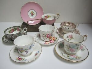 Mixed Lot Vtg England Mad Hatter Tea Party Set 6 Cups Saucers Lot B7