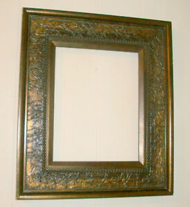 Vintage Dark Wood W Bronze Overlay Embossed Finish Wall Hung Frame