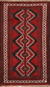 Labor Day Deal Geometric Red 4x6 Wool Balouch Afghan Oriental Area Rug Carpet