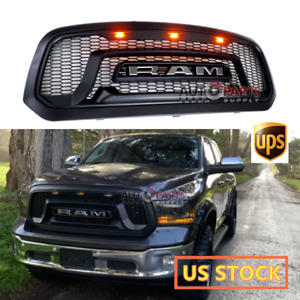 2013 2018 Dodge Ram 1500 Rebel Style Matte Black Grille Grill Mesh With 3 Led A6