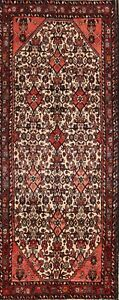 One Of A Kind Vintage Hamedan Persian Hand Knotted 4x9 Wool Ivory Runner Rug
