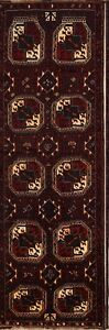Outstanding Geometric Vintage Lori Persian Hand Knotted 4x12 Wool Runner Rug