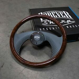 14 Wooden Wrap Steering Wheel W Chevy Horn Button
