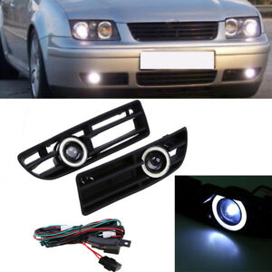 2pcs Front Fog Lights Lamps White Angel Eyes For Vw Jetta Bora Mk4 A4 1999 2004