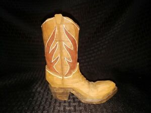 Hand Carved Cowboy Boot Detailed Folk Art Carving