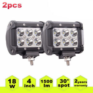 2pcs 4 18w Led Work Light Bar Spot Pods Offroad 4wd Atv Suv Driving Lamps New